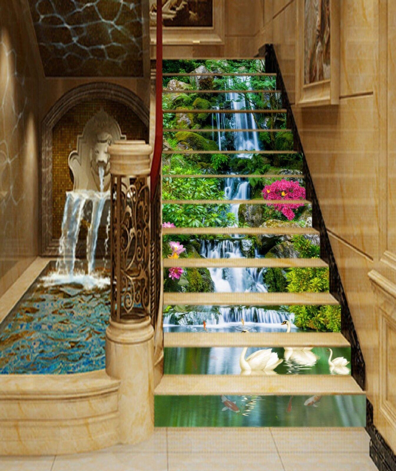 3D Waterfall Sawn 8 Stair Risers Decoration Photo Mural Vinyl Decal Wallpaper CA