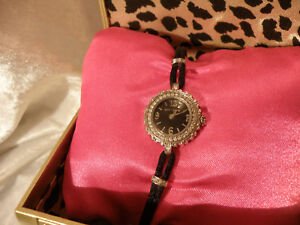 BETSEY-JOHNSON-LADIES-WRISTWATCH-SILVERTONE-CRYSTALS-BLACK-FACE-IN-BOX-VERY-NICE