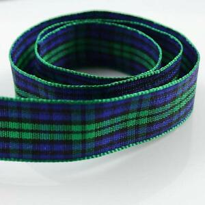 2-METRES-BLUE-AND-GREEN-16mm-CHECKED-POLYESTER-RIBBON-CARDMAKING-R5512