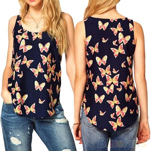 Women Hot Summer Butterfly Print Chiffon Blouse Sleeveless T-Shirt Vest Tank Top