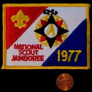 OLD-1977-NATIONAL-BOY-SCOUT-JAMBOREE-JAMBO-BSA-FLAP-POCKET-PATCH-CRISPY-MINT