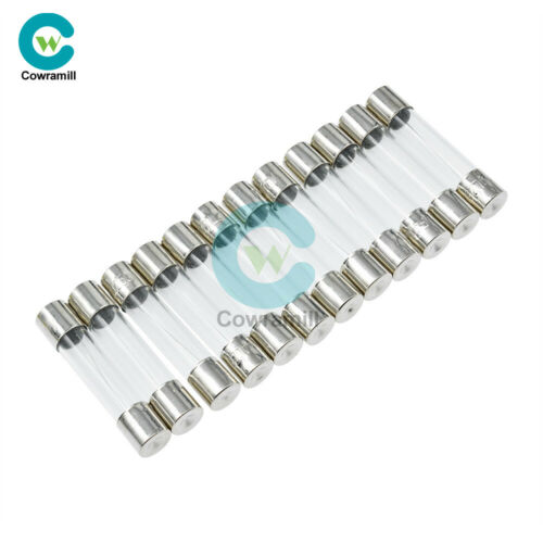 10//50//100PCS 250V 0.5-10A Fast Acting Blow Electrical Glass Tube Fuse 1A 5A 3A