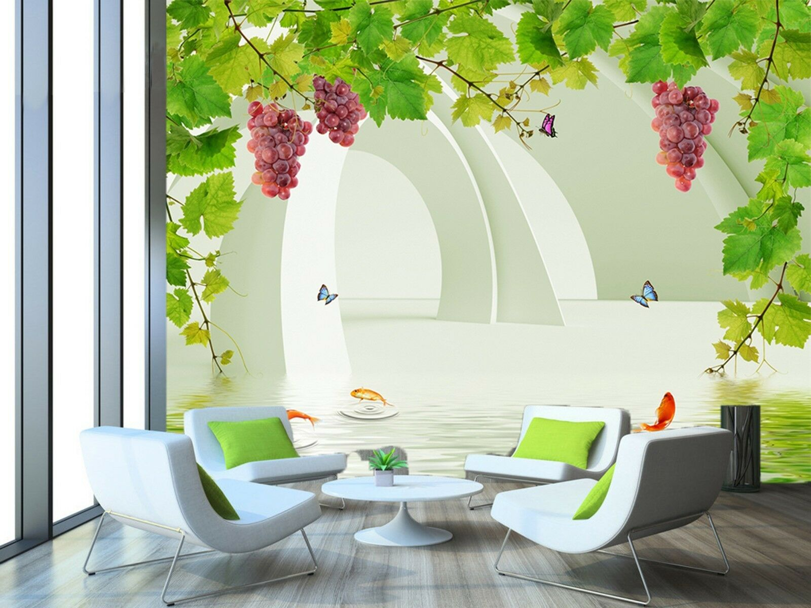 3D grape rattan butterfly Wall Paper Print Decal Wall Deco Indoor wall Mural