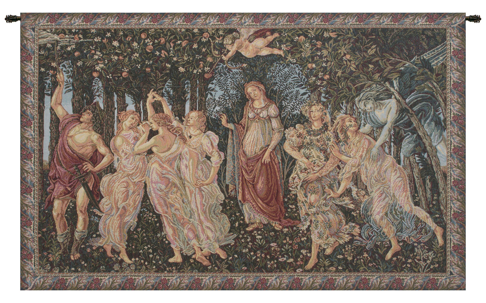 Allegory of Spring Italian Medieval Forest Woven Tapestry Wall Hanging NEW