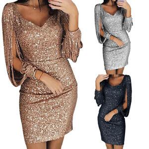 Women-Sequin-Long-Sleeve-Dress-Tassel-Bodycon-Party-Cocktail-Evening-Mini-RDR