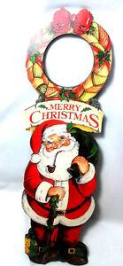 Good Luck Santa By Janet Stever Christmas Door Knob Hanger Sign 13 5
