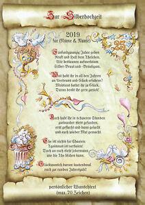 Details Zu Geschenk Gedicht Zur Silberhochzeit Urkunde Präsent Jubiläum Hochzeit