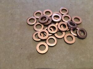 Qty 25 x COPPER WASHERS  ID 1/4 inch  OD 7/16 inch  Thickness 3/32 inch (2mm)