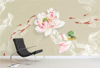 Details about  /3D Goldfish Flowers I420 Wallpaper Mural Sefl-adhesive Removable Sticker Kid Wen