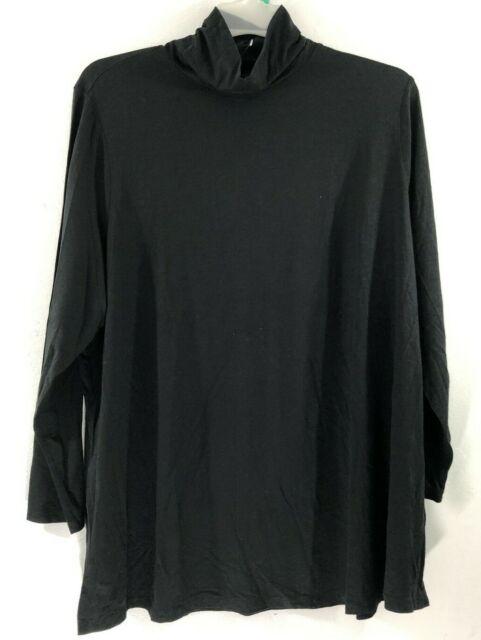 NEW J. JILL L XL L/S Turtleneck Tunic Knit Top Pima Cotton/Modal/Spx Black