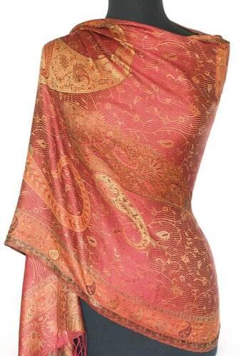 Shades of Red Silk Shawl Reversible Jamawar Iridescent Silk Paisley Shawl