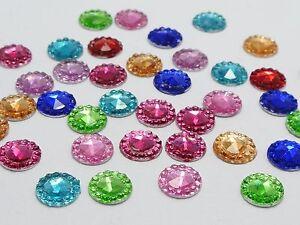 500-Mixed-Color-Acrylic-Flatback-Round-Rhinestone-Gems-8mm-Embellishments