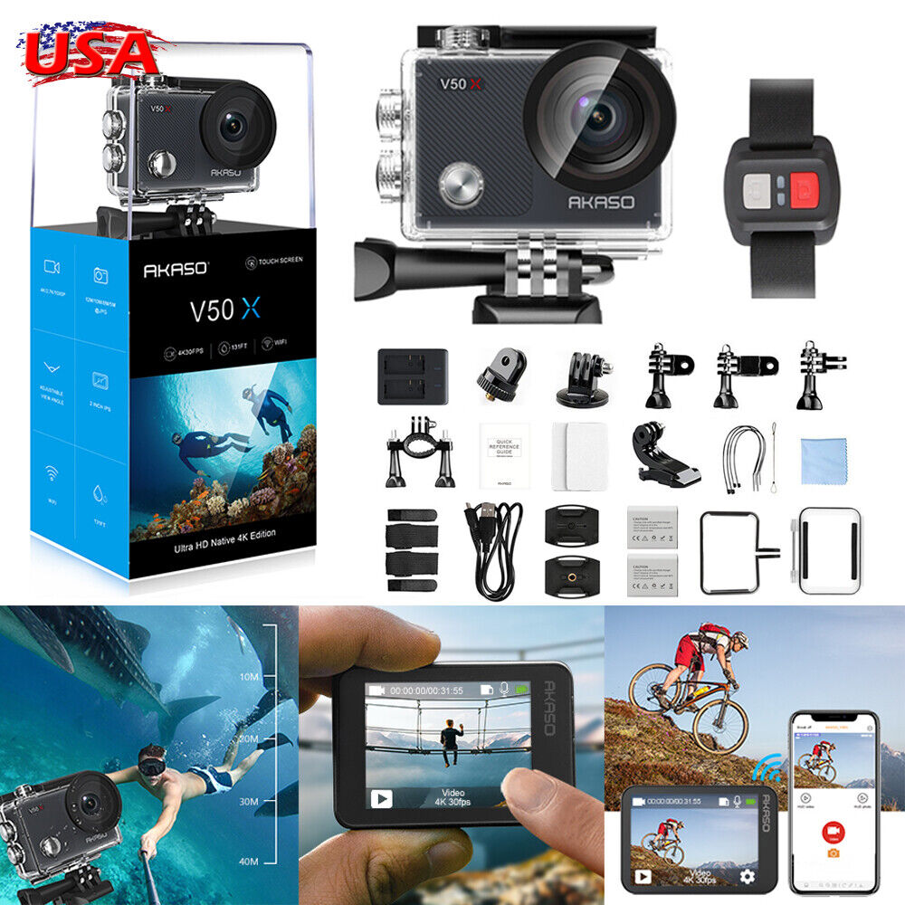 NEW AKASO V50X Native 4K/30fps Action Camera Ultra HD Touch Screen WiFi HDMI EIS action akaso camera native new screen touch ultra v50x wifi