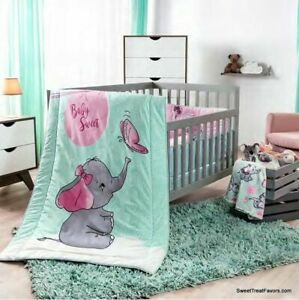 Details About Little Elephant Crib Set Baby Gift Dumbo Bedding Shower Nursery 100 Cotton