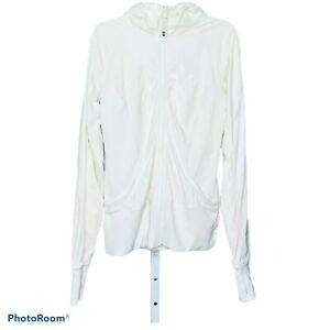 Lululemon-Women-039-s-Sweatshirt-Jacket-Hoodie-Cream-Hooded-Zip-Thumb-Holes-Size-8