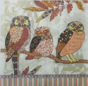 4-X-single-PAPER-NAPKINS-TABLE-PARTY-THREE-OWLS-DECOUPAGE-CRAFTING-74