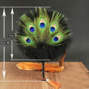 Peacock-Feather-Hand-Fan-Round-Chinese-Home-Adorn-Wedding-Dance-Costume-Handmade