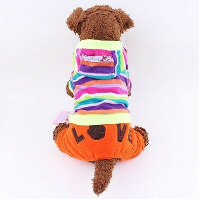 Winter Dogs Coats Colorful Stripe Dog Pants Fleece Pet Clothes Apparel Jumpsuit