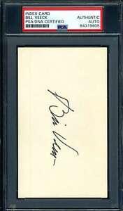 Bill Veeck PSA DNA Coa Autograph Hand Signed 3x5 Index Card