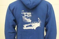 Surf Face Jerzees Cadillac Wash Blue Zip-front Cotton Blend Hoodie Small