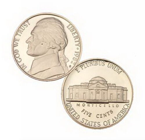 1982 S US Mint Jefferson Proof 5 Cent Nickel Coin