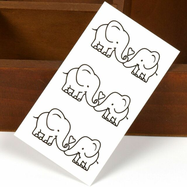 Love Pattern Removable Body Art Temporary Cover Stickers Elephant Tattoos
