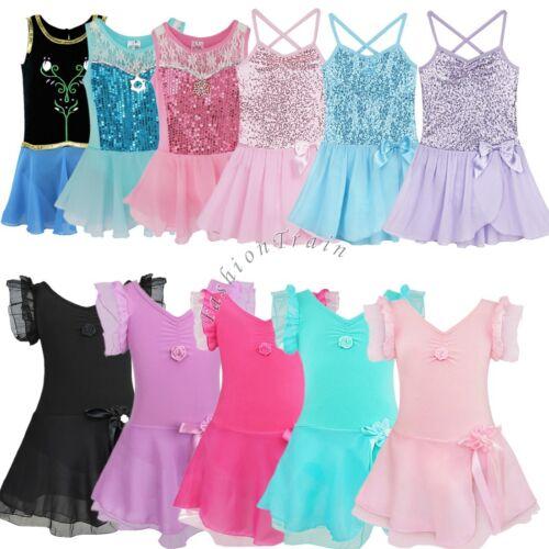 Girls Gymnastic Ballet Dance Dress Leotard Unitard Toddler Tutu Skirt Costumes