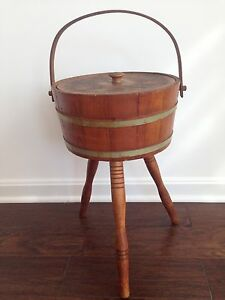 Vtg Antique 3 Leg Wood Knitting Sewing Storage Container Firkin