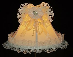 Details About French Shabby Chic Ivory Lamp Shade Victorian Cream Lace Rhinestones Pearls 6 H