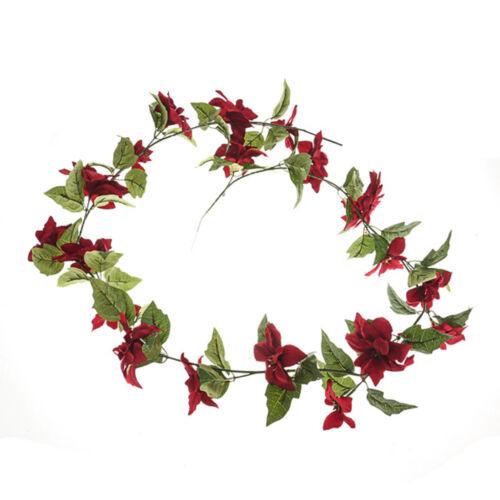 Flor de Pascua Navidad Guirnalda Artificial 165cm Rojo