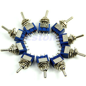 10PCS Toggle Switch 6A 125VAC 3 Pin DPDT MTS-102 ON-ON Mini Toggle Switch New