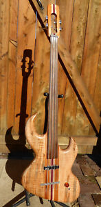 WISHBASS-FRETLESS-ELECTRIC-BASS-GUITAR-4-String-Right-Handed-natural-wood-g2