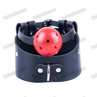 PU Leather Restraints neck collar posture with breathable Ball Mouth Gag Bondage