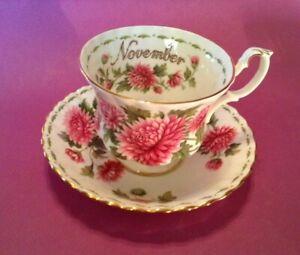 Royal-Albert-Teacup-And-Saucer-Flower-Of-Month-Pink-Chrysanthemums-England