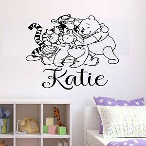 DéVoué Personnalisé Winnie L'ourson Wall Art Sticker-chambre Garçons/filles/nursery-y Fr-fr Afficher Le Titre D'origine Fabrication Habile