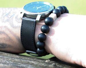 Onyx-matt-925er-sterling-Silber-Armband-Bracelet-Perlenarmband-schwarz-12-mm