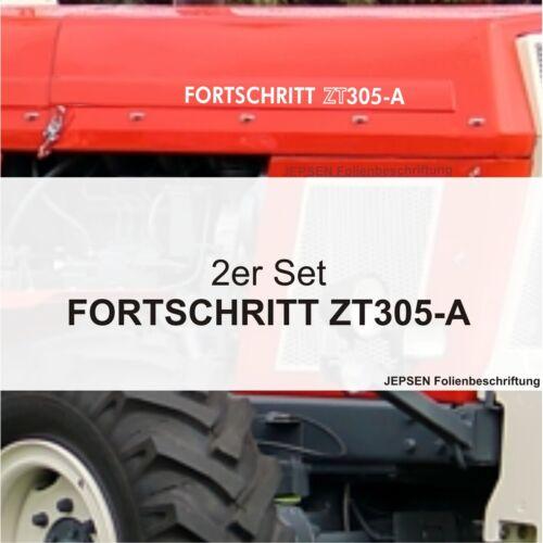 2 Folien Aufkleber Schlepper Fortschritt ZT 305A in weiß hochglanz