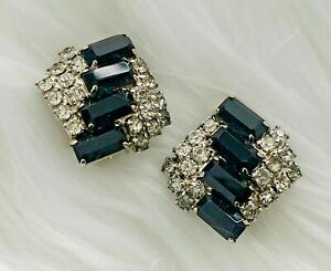 Stunning-Vintage-ART-DECO-Jet-Black-and-Clear-Rhinestone-Clip-Statement-Earrings