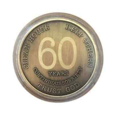 2-60 Year Chip Bronze Alcoholics Anonymous Coin Bigger Design with Coin Capsule
