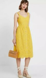 New-Look-Womens-Yellow-Broderie-Button-Front-Midi-Cotton-Summer-Dress-Sizes-6-18