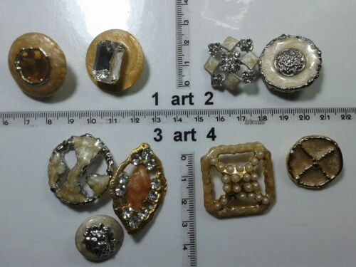 1 lotto bottoni gioiello strass smalti perle beige buttons boutons vintage g10