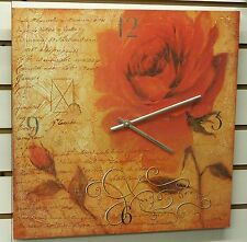"""LARGE 16"""" SQUARE POSTER BOARD WALL CLOCK - DISPLAYING A LARGE ROSE"""