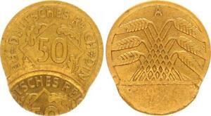 Weimar, Lack Coinage: 50 Pfennig 1924 A J.310 Wertseite Twice Beprägt XF