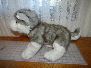 "Build A Bear Husky Wolf Dog 18"" Plush Stuffed Animal Collar Gray White Blue Eyes"