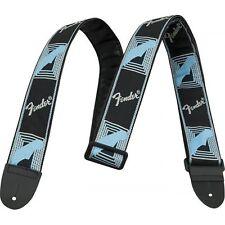 """Fender 2"""" Monogrammed Adjustable Guitar Strap with Fender Logo Black/Grey/Blue"""