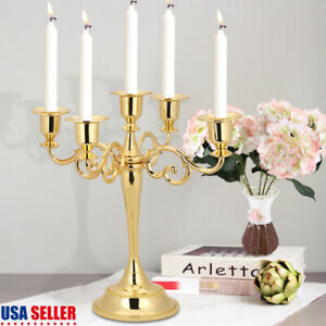 5-Arms-Metal-Candle-Holder-Candelabra-Alloy-Crafts-Stand-Wedding-Home-Decor-Gold