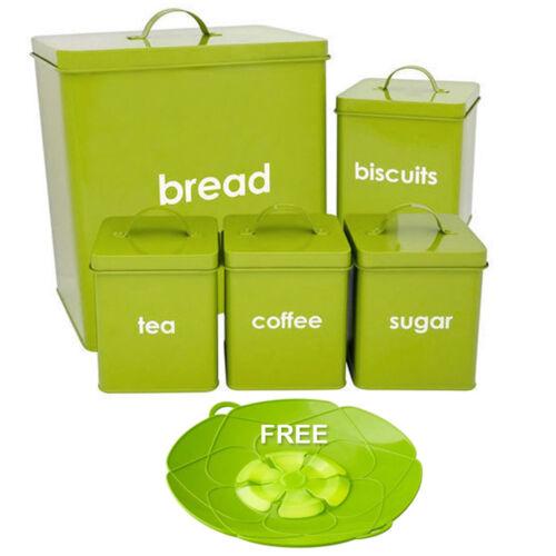 5PC Metal conjunto de recipientes de almacenamiento Panera Verde Azúcar Té Café esmalte recubierto