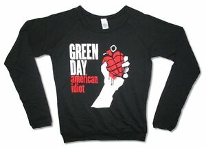 Green-Day-American-Idiot-Juniors-Black-Long-Sleeved-Shirt-New-Official