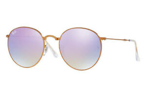 e12b001307 Image is loading RAY-BAN-ROUND-FOLDING-SUNGLASSES-COPPER-LILAC-GRADIENT-