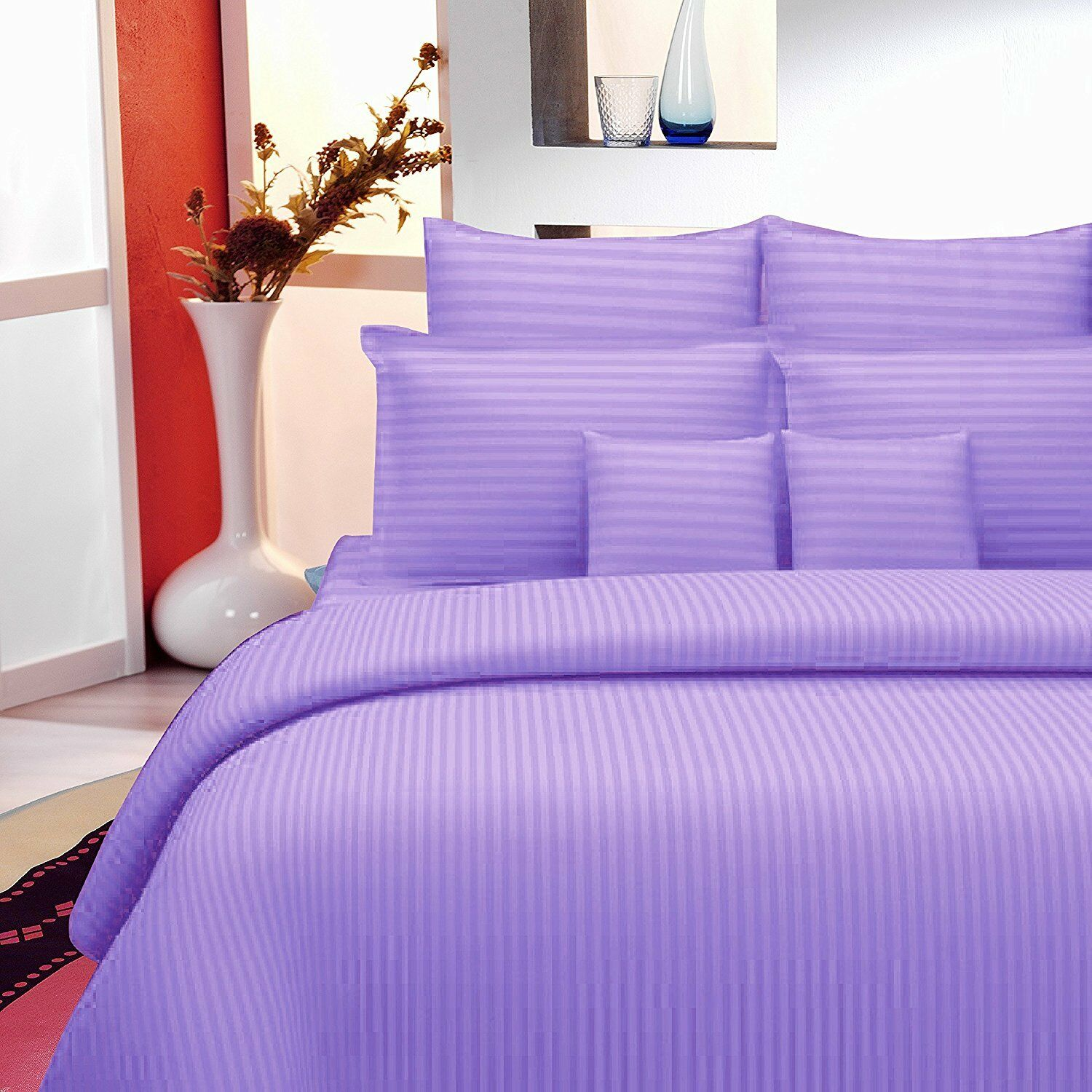 Indian Handmade Plain Purple 100% Cotton Bed Sheet Two Pillow Covers Set